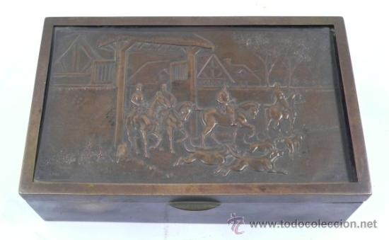 Antigüedades: Caja purera de metal, con sobre con cazadores, 23 cm ancho x 14 cm fondo x 7 cm alto - Foto 3 - 32408034