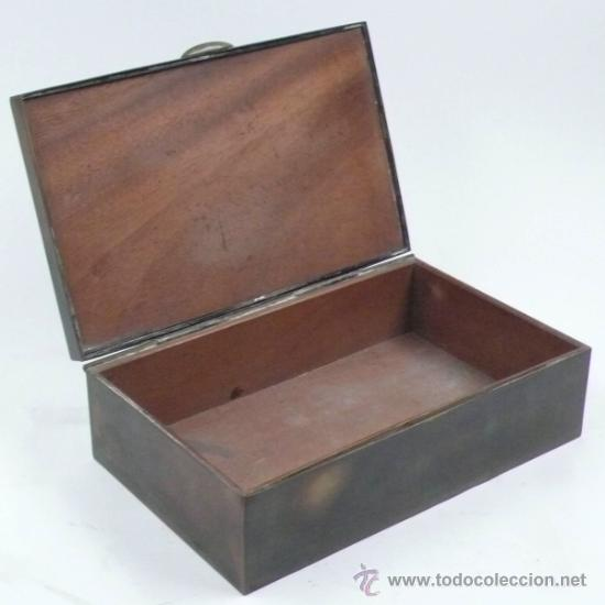 Antigüedades: Caja purera de metal, con sobre con cazadores, 23 cm ancho x 14 cm fondo x 7 cm alto - Foto 2 - 32408034