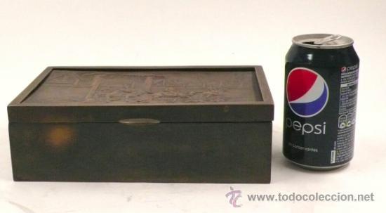 Antigüedades: Caja purera de metal, con sobre con cazadores, 23 cm ancho x 14 cm fondo x 7 cm alto - Foto 4 - 32408034