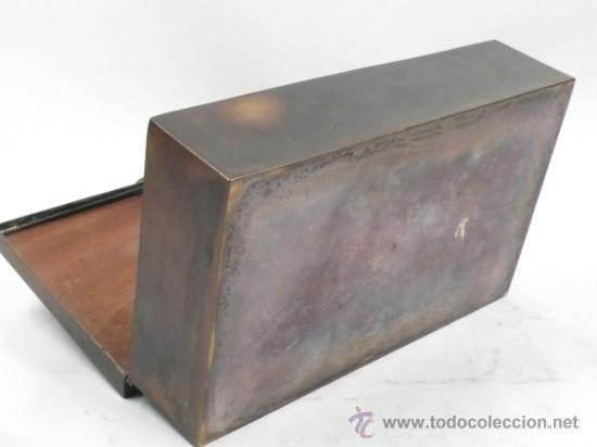 Antigüedades: Caja purera de metal, con sobre con cazadores, 23 cm ancho x 14 cm fondo x 7 cm alto - Foto 5 - 32408034