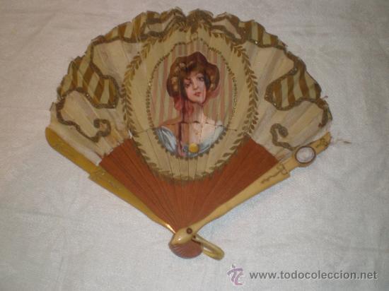 ABANICO MADERA Y SEDA (Antigüedades - Moda - Abanicos Antiguos)