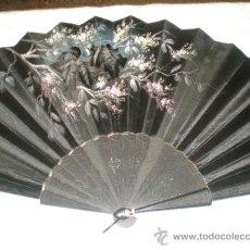 Antigüedades: ABANICO MADERA TELA NEGRO. Lote 32475926