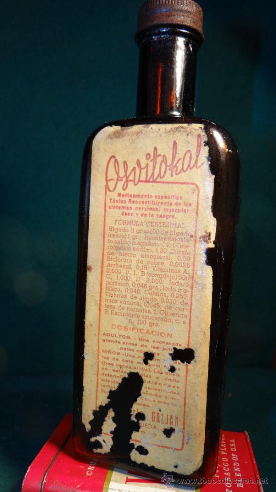 OSVITOKAL TONICO RECONSTITUYENTE -LABORATORIO GALJAN ( MADRID) - FARMACIA - VACIA- (Antigüedades - Cristal y Vidrio - Farmacia )