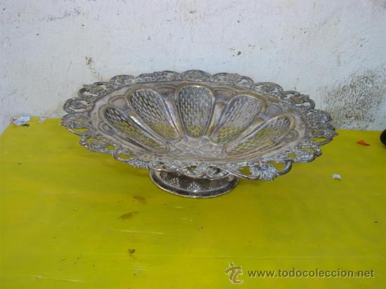 Antigüedades: centro de mesa de alpacar labrado - Foto 2 - 32349075