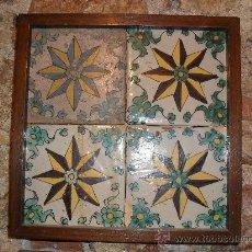 Antigüedades: CUADRO 4 ANTIGUOS AZULEJOS CATALANES.. Lote 32524525