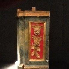 Antigüedades: TROZO DE RETABLO POLICROMADO DEL SIGLO XVIII. Lote 32580965