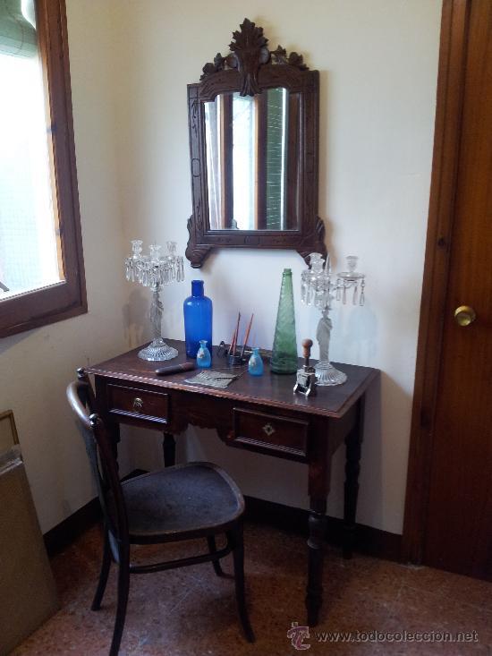 Lote de muebles antiguos espejo mesa y silla comprar for Lote de muebles