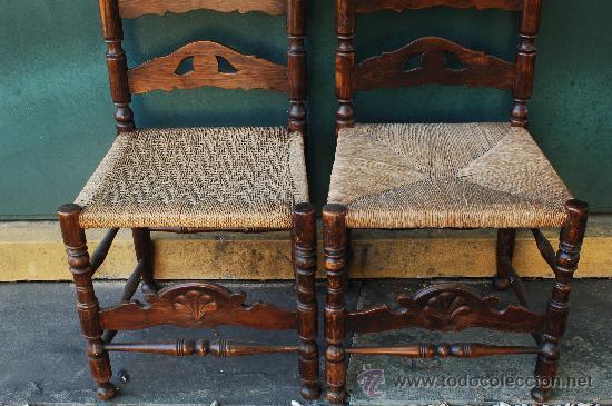 Conjunto de cuatro sillas antiguas de madera y comprar - Sillas antiguas restauradas ...