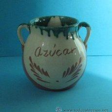 Antigüedades: AZUCARERO DE CERÁMICA DECORACIÓN ESGRAFIADA. ALTURA 12,5 CM. Lote 32617486