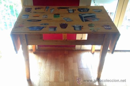 Antigüedades: soberbia mesa tocinera antigua decorada con recetas de cocina,Diego Nicolás. - Foto 2 - 32645439