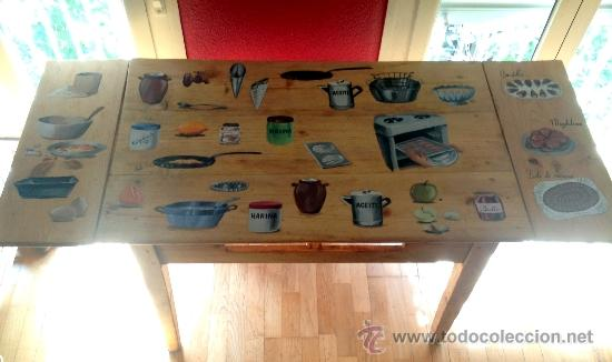 Antigüedades: soberbia mesa tocinera antigua decorada con recetas de cocina,Diego Nicolás. - Foto 3 - 32645439