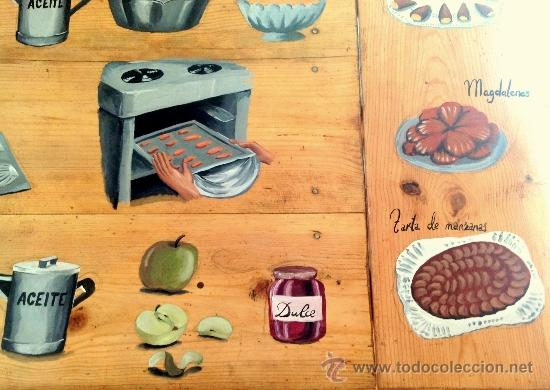 Antigüedades: soberbia mesa tocinera antigua decorada con recetas de cocina,Diego Nicolás. - Foto 4 - 32645439