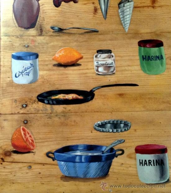 Antigüedades: soberbia mesa tocinera antigua decorada con recetas de cocina,Diego Nicolás. - Foto 5 - 32645439
