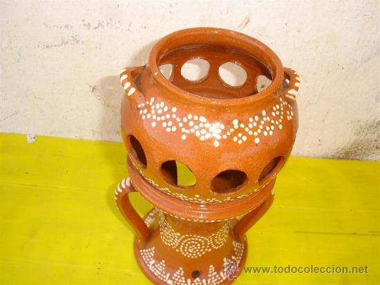 Antigüedades: asador de castaña rustica de barro - Foto 2 - 32649235