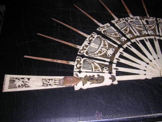 Antigüedades: VARILLAJE DE ABANICO ANTIGUO MITAD S. XIX TRABAJADO MARFIL Y MADREPERLA CON INCRUSTACIONES DE PLATA - Foto 3 - 32650773