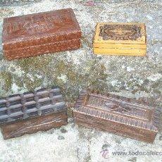 Antigüedades: CAJITAS DE MADERA Y CUERO. Lote 32656429