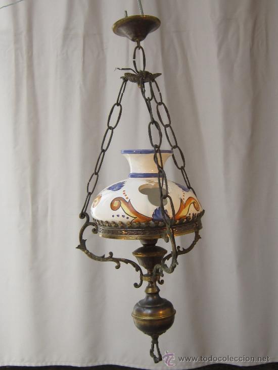 Lampara de techo en laton y ceramica comprar l mparas for Lamparas de ceramica