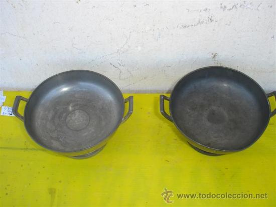 Antigüedades: pareja de fruteros o centro de mesa de estaño - Foto 2 - 32674371