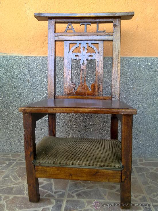 ANTIGUA SILLA RECLINATORIO. (Antigüedades - Muebles Antiguos - Sillas Antiguas)