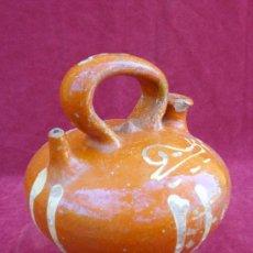 Antigüedades: CÀNTIR / BOTIJO DE CERÁMICA DE LA BISBAL (GIRONA) CON DIBUJO DE CARACOL. S.XX. Lote 32697160
