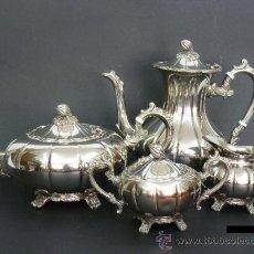Antigüedades: JUEGO DE CAFE Y TE EN METAL PLATEADO. Lote 32718034