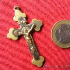 Antigüedades: ANTIGUA CRUZ DE BRONCE Y MADERA. Lote 32752959