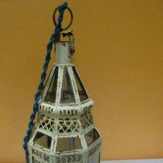 Antiquitäten - Farolillo de metal y cristal para colgar - 32729284