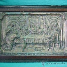 Antigüedades: SANTA CENA EN CHAPA DE COBRE CON BAÑO DE PLATA . FIRMADA A.LOPEZ CHAPA 70´5X41´5 Y MARCO 83X53´5 CM. Lote 32746989