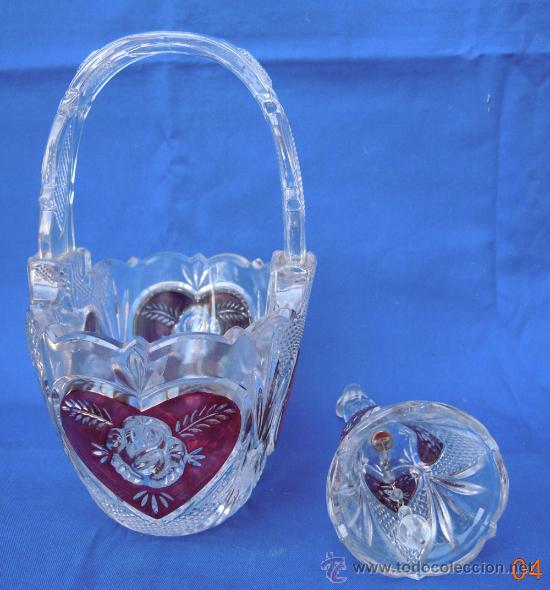 Antigüedades: Bonito conjunto de cesta y campanilla de cristal italiano - Foto 3 - 32750771