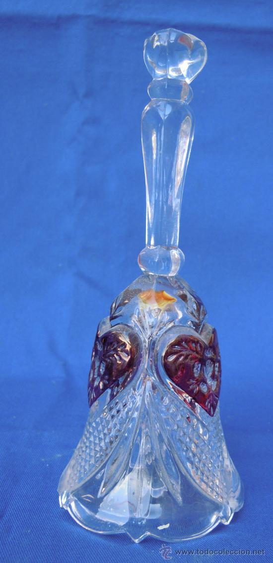 Antigüedades: Bonito conjunto de cesta y campanilla de cristal italiano - Foto 4 - 32750771