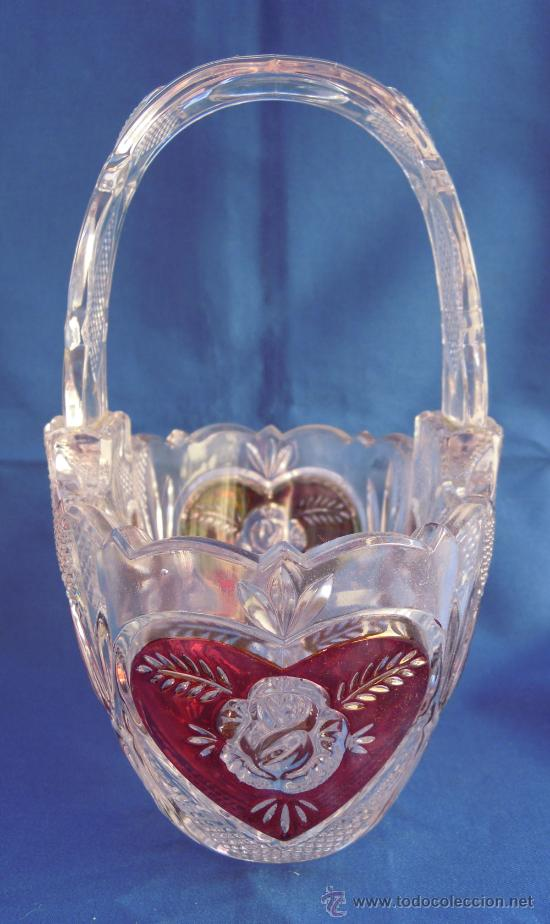 Antigüedades: Bonito conjunto de cesta y campanilla de cristal italiano - Foto 6 - 32750771