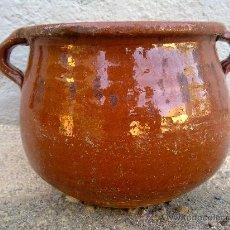 Antigüedades: ANTIGUA OLLA DE BARRO, VIDRIADA. Lote 32751616
