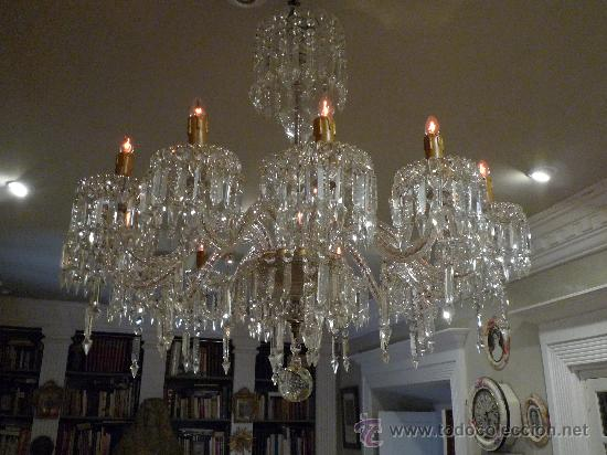 Magnifica lampara de cristal de bohemia antigua comprar - Lamparas cristal antiguas ...