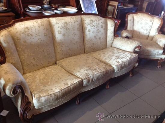 Oportunidad antiguos sofa 3 plazas mas sill n comprar sof s antiguos en todocoleccion 32774152 - Sillon 3 plazas ...
