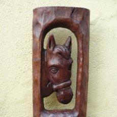 Antigüedades: TALLA EN MADERA- CABEZA DE CABALLO. Lote 32784783