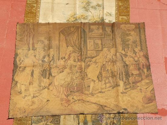 ANTIGUO TAPIZ DE FINALES DEL SIGLO XIX- ESCENA CORTESANA (Antigüedades - Hogar y Decoración - Tapices Antiguos)