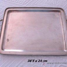 Antigüedades: BANDEJA ANTIGUA ALPACA PLATEADA PUNZONADA. Lote 32815707