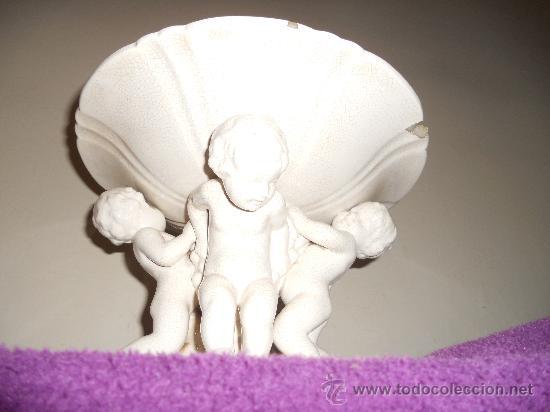 Antigüedades: ANTIGUO FRUTERO DE PORCELANA CON TRES ANGELITOS ART, DECO - Foto 5 - 32828399