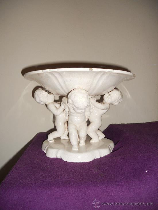Antigüedades: ANTIGUO FRUTERO DE PORCELANA CON TRES ANGELITOS ART, DECO - Foto 7 - 32828399