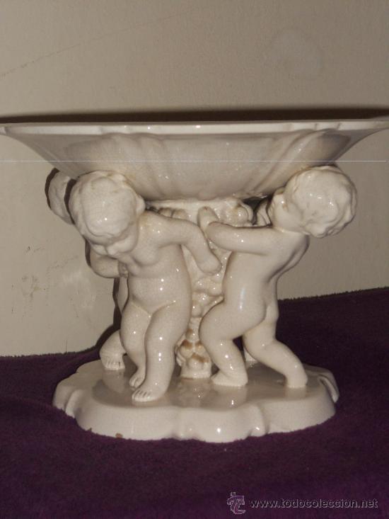 Antigüedades: ANTIGUO FRUTERO DE PORCELANA CON TRES ANGELITOS ART, DECO - Foto 13 - 32828399