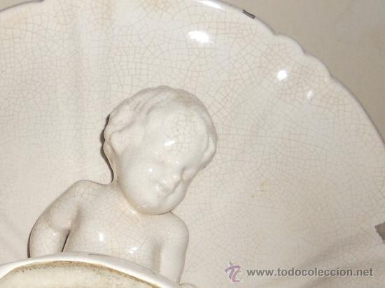 Antigüedades: ANTIGUO FRUTERO DE PORCELANA CON TRES ANGELITOS ART, DECO - Foto 16 - 32828399