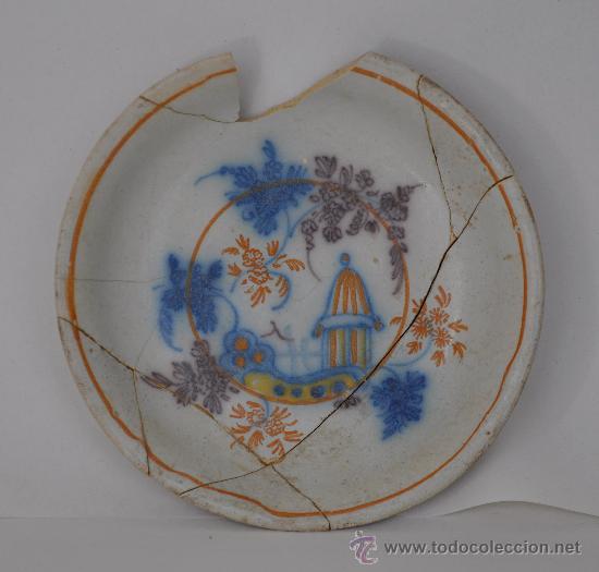 LOZA DE TRIANA DEL SIGLO XVIII. PLATO DE MEDALLÓN CIRCULAR. (Antigüedades - Porcelanas y Cerámicas - Triana)