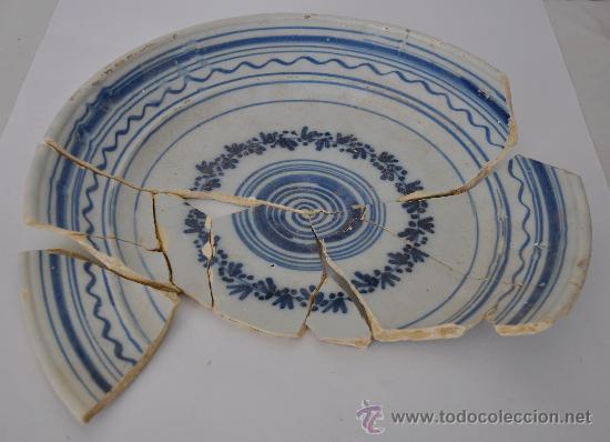 LOZA DE TRIANA DEL SIGLO XVIII-XIX. FUENTE. (Antigüedades - Porcelanas y Cerámicas - Triana)