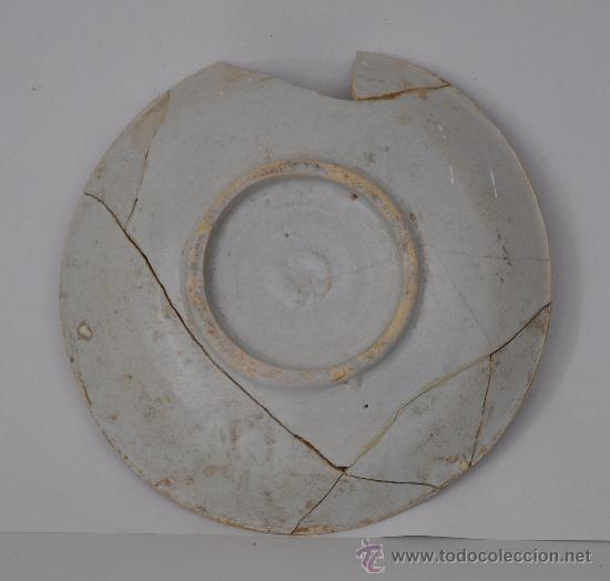 Antigüedades: Loza de Triana del siglo XVIII. Plato de medallón circular. - Foto 2 - 32875257