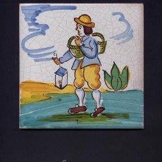 Antigüedades: ANTIGUO AZULEJO DE ARTES Y OFICIOS DE 15 X 15 CMS. PINTADO A MANO - AÑOS 60 - FAROLERO. Lote 32936761