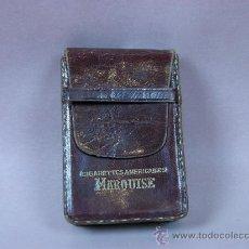 Antigüedades: PITILLERA DE CUERO MARQUISE CIGARRILLOS AMERICANOS. Lote 32936913
