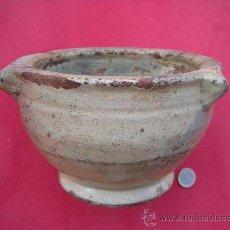 Antigüedades: CERÁMICA POPULAR, ALTA DECORACIÓN ANTIGUO MORTERO DE BARRO VIDRIADO. Lote 32949349