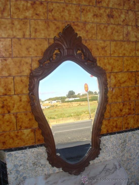 Antigüedades: consola con espejo de madera de castaño - Foto 2 - 32954933