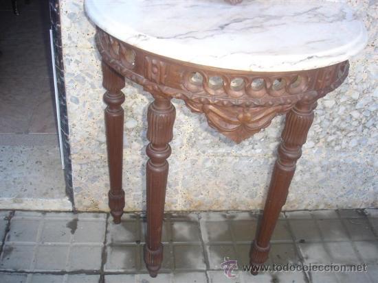 Antigüedades: consola con espejo de madera de castaño - Foto 3 - 32954933