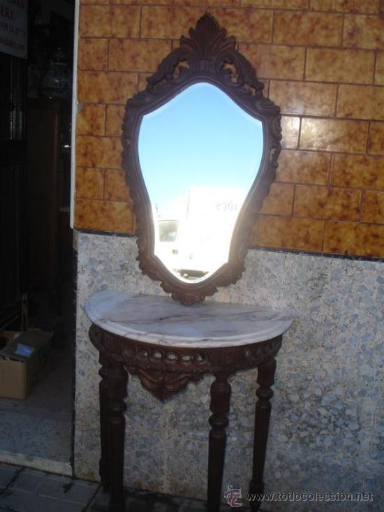 Antigüedades: consola con espejo de madera de castaño - Foto 4 - 32954933